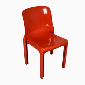 Red Selene Chair by Vico Magistretti for Artemide, 1970s