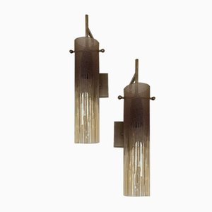 Italian Acid Decor Glass and Metal Sconces from Poliarte, 1970s, Set of 2