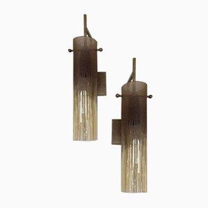 Italienische Wandlampen aus Glas & Metall in Säure-Optik von Poliarte, 1970er, 2er Set