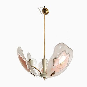 Mid-Century Pink and White Opaline Glass and Brass Ceiling Lamp Attributed to Stilnovo
