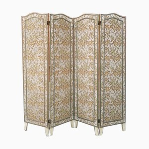Italian 4-Panel Floral Fabric Room Divider, 1940s