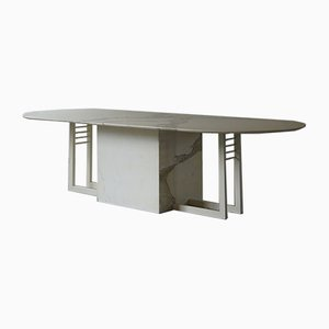 Large Vintage Italian Marble and Steel Dining Table, 1980s