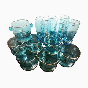 Czechoslovakian Crystal Glasses and Ice Bucket Set, 1950s