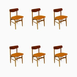 Danish Teak and Beech Dining Chairs, 1960s, Set of 6