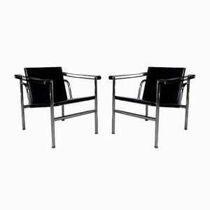 Black Model LC1 Armchairs by Le Corbusier for Cassina, 1970s, Set of 2