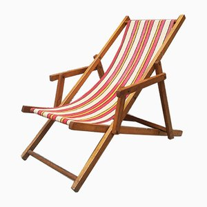 Small Mid-Century Italian Wood and Orange and White Fabric Deck Chair, 1950s