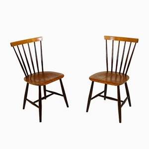 Swedish Teak and Beech Model Pinnstol Chairs, 1960s, Set of 2