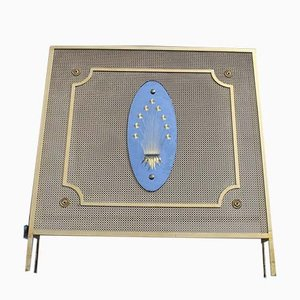 Italian Perforated Lacquered Metal and Gold Leaf Engraved Crystal Radiator Cover, 1950s