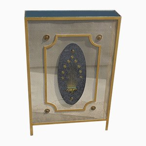 Italian Perforated Metal and Gold Leaf Mirrored Glass Radiator Cover, 1950s