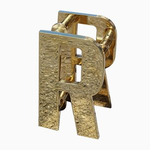 Solid Brass Letter R Handles, 1970s, Set of 2