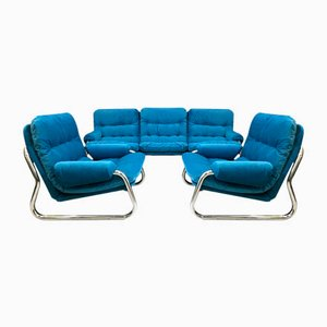 Vintage Tubular Sofa and Armchairs Set by Johann Bertil Haggstrom for Ikea, 1970s
