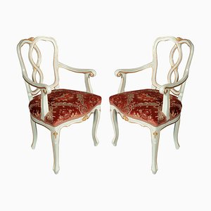 19th Century Baroque Style Italian Lacquered and Gilded Lounge Chairs, Set of 2