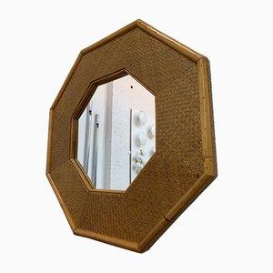 Italian Octagonal Bamboo Rattan Mirror, 1970s