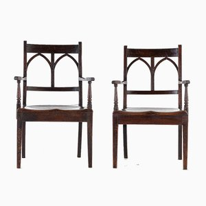 19th Century English Oak Chairs, Set of 2