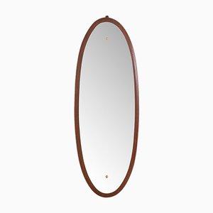 Ovaler italienischer Mid-Century Spiegel aus massivem Mahagoni, 1960er