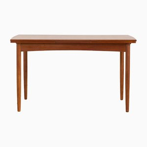 Danish Rectangular Teak Extendable Dining Table with Rounded Sides, 1960s