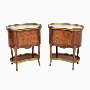 Antique French Kidney Side Tables with Marble Tops, 1930s, Set of 2