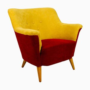 Club Armchair in Red and Yellow, 1930s