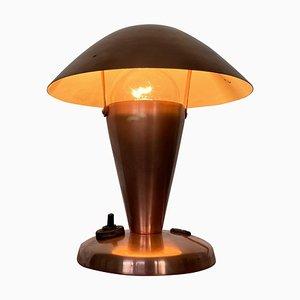 Kleine Messing Tischlampe im Bauhaus Stil, Tschechoslowakei, 1940er