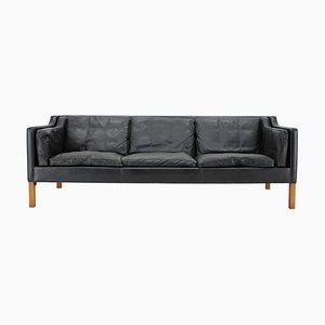 Model 2213 Sofa in Black Leather by Børge Mogensen for Fredericia, 1960s
