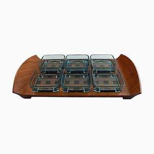 Tray in Teak with Containers in Colored Glass by Jens Harald Quistgaard, 1960s, Set of 7