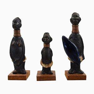Figurines Hottentots en Céramique par Rolf Palm pour Höganäs, Suède, 1950s, Set de 3