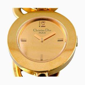 Orologio da polso da donna in acciaio placcato in oro di Christian Dior, inizio XXI secolo