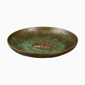 Tinos Bronze Dish of Massive Patinated Genuine Bronze, Denmark, 1930s