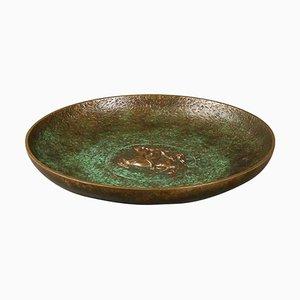 Tinos Bronze Dish of Massive Patinated Genuine Bronze, Denmark, 1930s