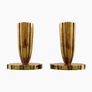Art Deco Tinos Style Candle Holders in Bronze, Copenhagen, 1940s, Set of 2