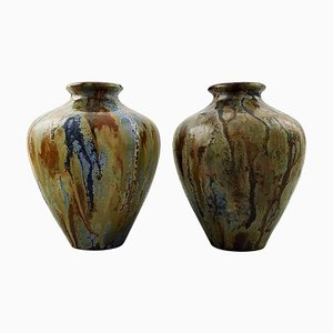 French Art Deco Pottery Vases by Roger Guerin, 1930s, Set of 2