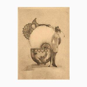 Acquaforte erotica Nude Study su carta giapponese di Gerhard Henning