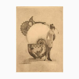 Nude Study Erotic Etching on Japanese Paper by Gerhard Henning