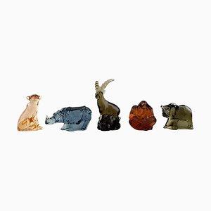 Figurines en Verre par Paul Hoff & K. Engman pour Svenskt Glass, 1970s, Set de 5