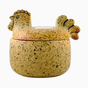 Glazed Ceramic Lidded Jar in the Shape of Hen by Lisa Larson