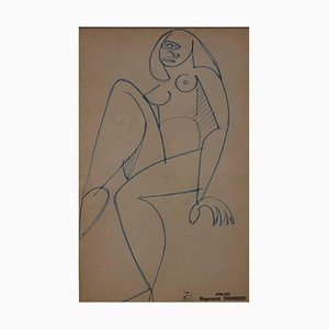 French Naked Woman in Cubist Style by Raymond Trumeau