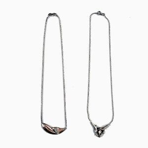 Danish Modern Sterling Silver Necklaces by N.E. From, 1970s, Set of 2