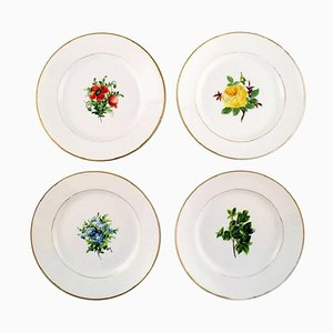 Antique Flat Plates in Floral Danica Style from Royal Copenhagen, Set of 4