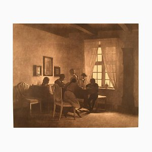 A Rainy Day Interior with the Artist's Family Mezzotint by Peter Ilsted, 1931