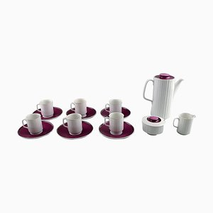 Porcelaine Noire Six Person Mocha Service by Tapio Wirkkala for Rosenthal, Set of 15