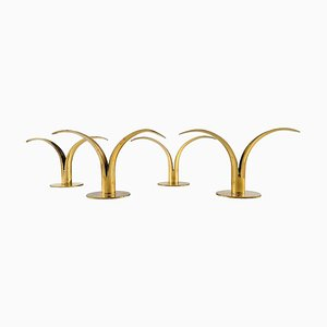 Liljan Candlesticks in Brass by Ivar Alenius Bjork for Ystad Metal, Set of 4