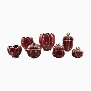 Gilded Collection of Red Rubin Ceramics with Red Glaze from Upsala-Ekeby, 1930s, Set of 7