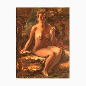 Swedish Oil on Canvas Seated Nude Model by Hans Ekegardh, 1940s
