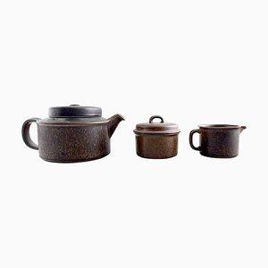 Servicio de té finlandés Ruska de gres de Arabia, años 60. Juego de 23