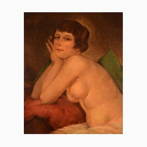 Russian Oil on Board Naked Woman Posing by Ivan Thiele, 1920s