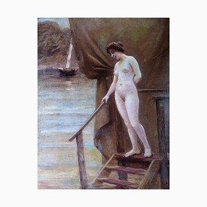 Nackte Frau an einem hölzernen Pier von Christian Valdemar Clausen, 1906