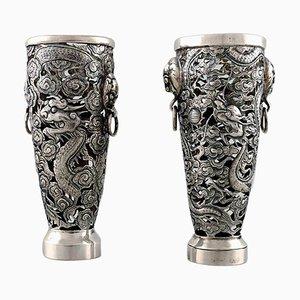 Drachen Vasen in Silber von Luen Wo, Shanghai, 1900er, 2er Set