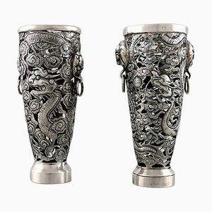 Dragon Vases in Silver by Luen Wo, Shanghai, 1900s, Set of 2