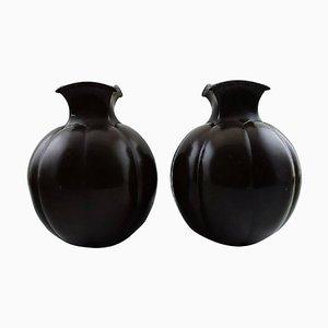 Art Deco Light Bronze Number 1754 Vases by Just Andersen, 1930s, Set of 2