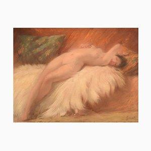 Französischer Art Deco Junge Schönheit auf Lammfell Pastell, 1920er
